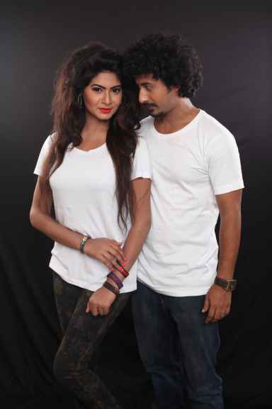 man and woman wearing white crew neck t shirts